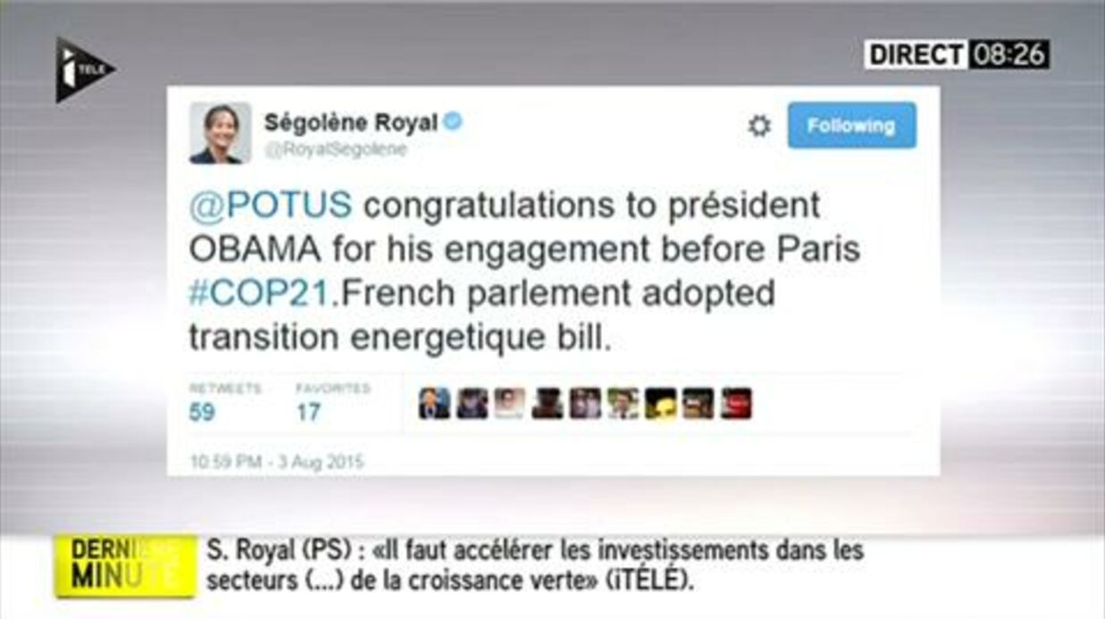 VIDEO Ségo­lène Royal assure qu'il n'y avait pas de faute dans son tweet en fran­glais à Barack Obama