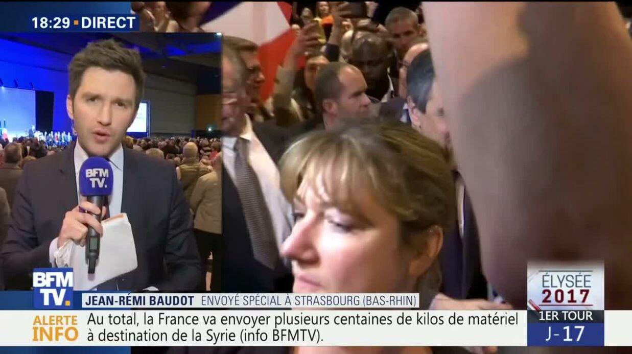 VIDEO François Fillon enfariné en plein meeting à Strasbourg