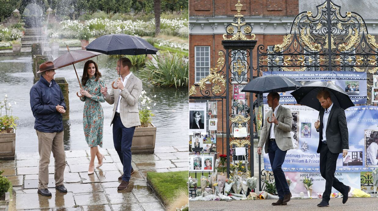PHOTOS William, Harry et Kate Midd­le­ton visitent un jardin éphé­mère en mémoire de Diana
