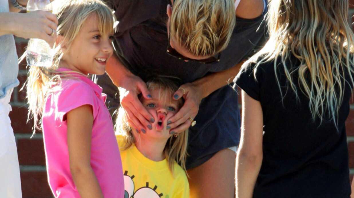 Heidi Klum au jardin d'enfants en famille
