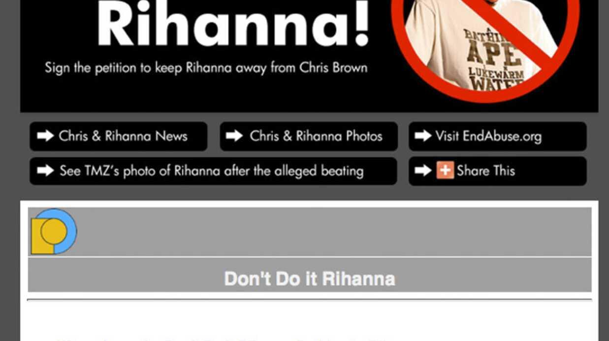 Pétition Rihanna Chris Brown seulement 540 signatures