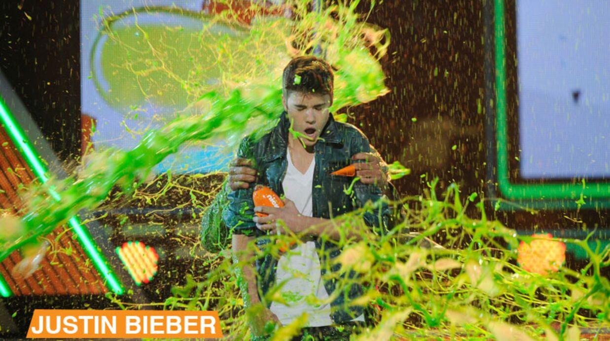 Halle Berry, Heidi Klum, Justin Bieber et Taylor Lautner attaqués au slime!