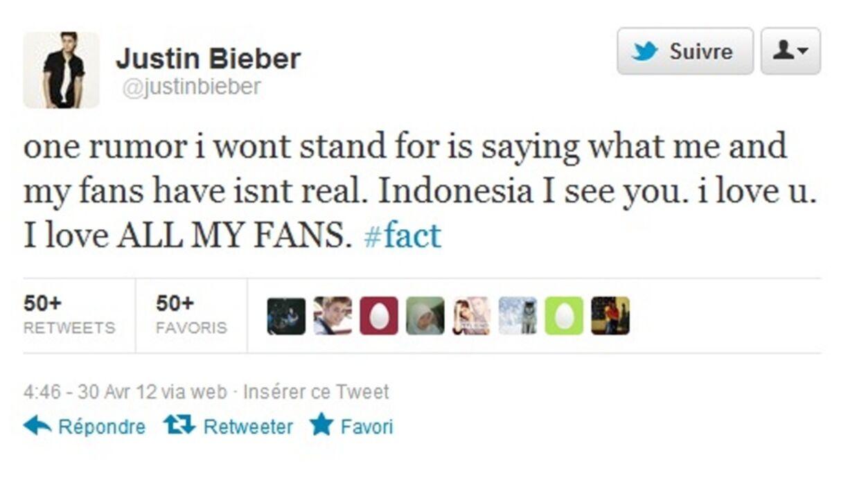 Justin Bieber s'excuse auprès de ses fans d'Indonésie
