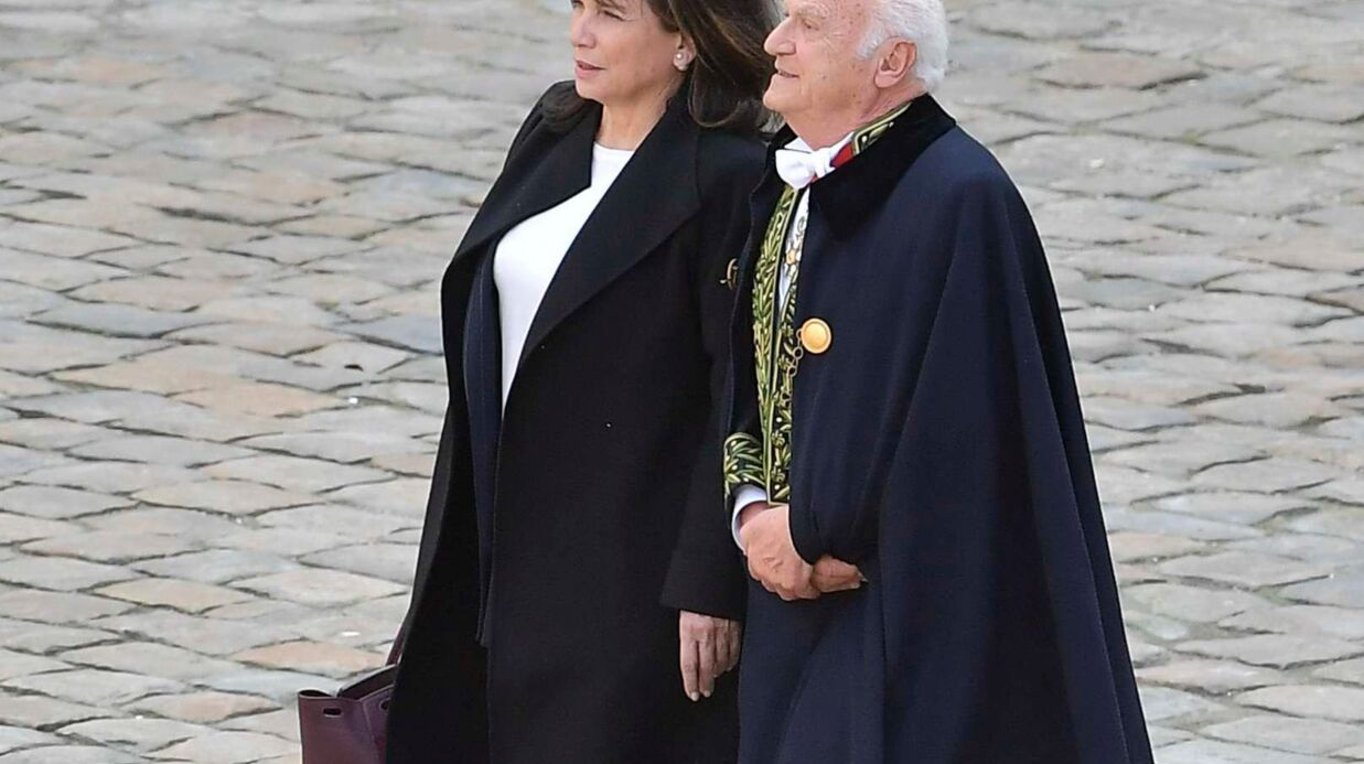 Anne Sinclair et son compagnon Pierre Nora aux obsèques d'Alain Decaux aux Invalides