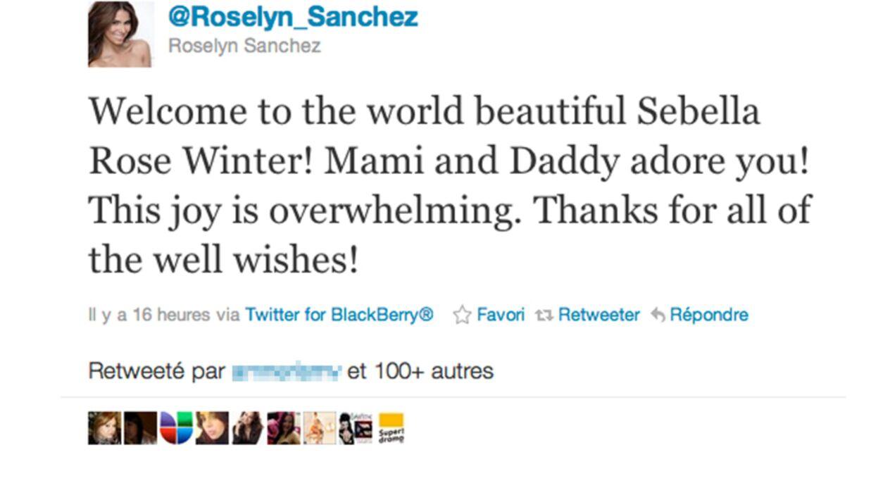 Roselyn Sanchez (FBI Portés Disparus) maman d'une petite fille
