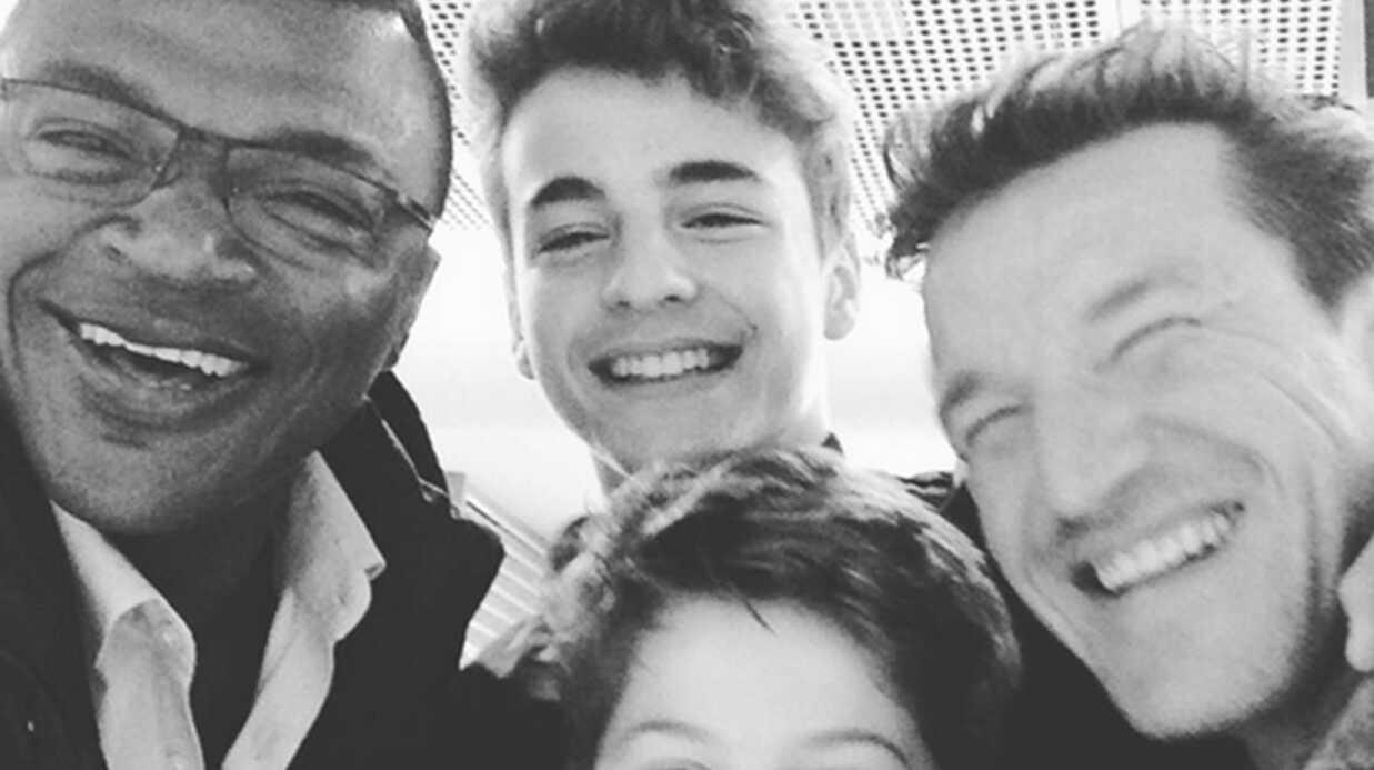 PHOTO Benjamin Castaldi avec ses deux fils Simon et Enzo encouragent les Bleus