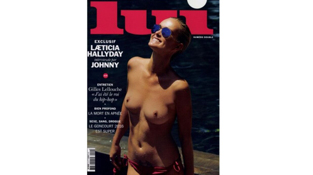 PHOTO Laeti­cia Hally­day pose seins nus en couver­ture de Lui
