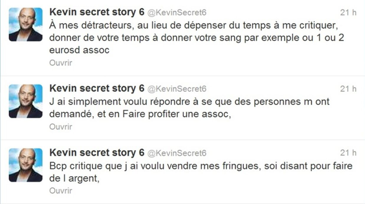 Secret Story 6 : Kevin vend ses vête­ments sur Inter­net