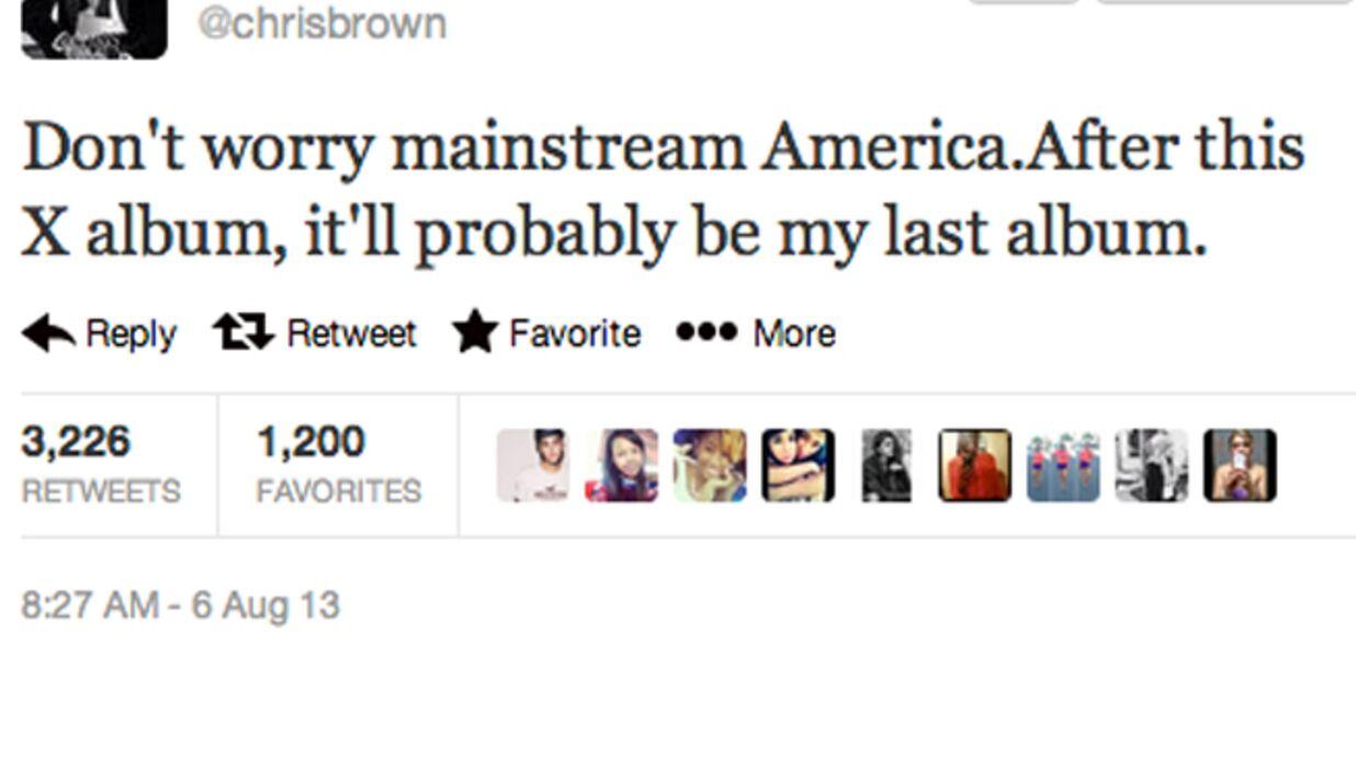 Chris Brown annonce qu'il va arrêter la musique