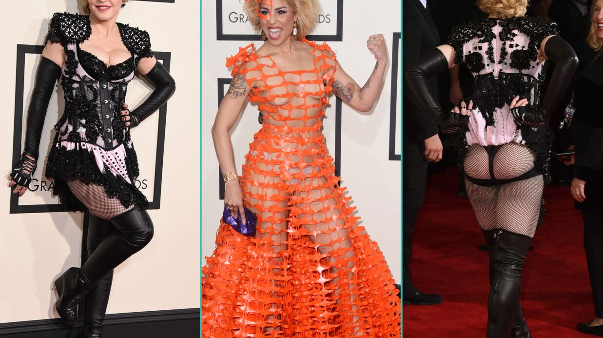 PHOTOS Madonna fesses à l'air, Nicki Minaj ultra décol­le­tée aux Grammy Awards