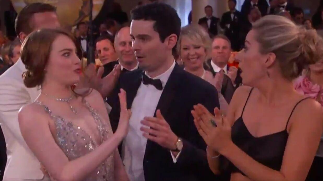 VIDEO Emma Stone se prend un gros vent aux Golden Globes