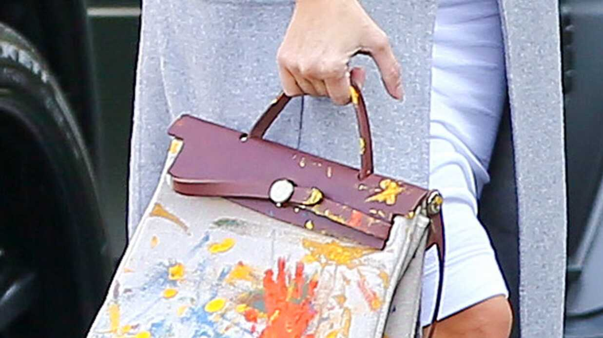 PHOTOS Kim Kardashian porte un sac Hermès peint par North