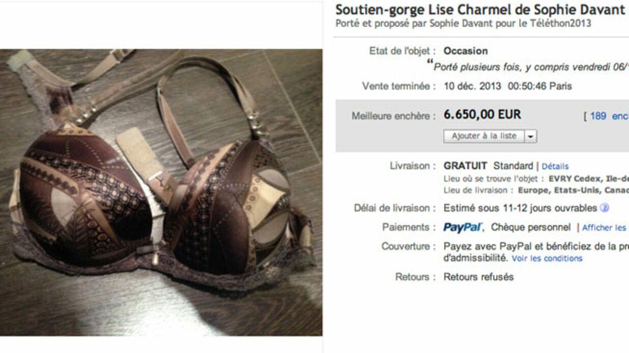Le soutien-gorge de Sophie Davant vendu pour 6650 euros sur Ebay
