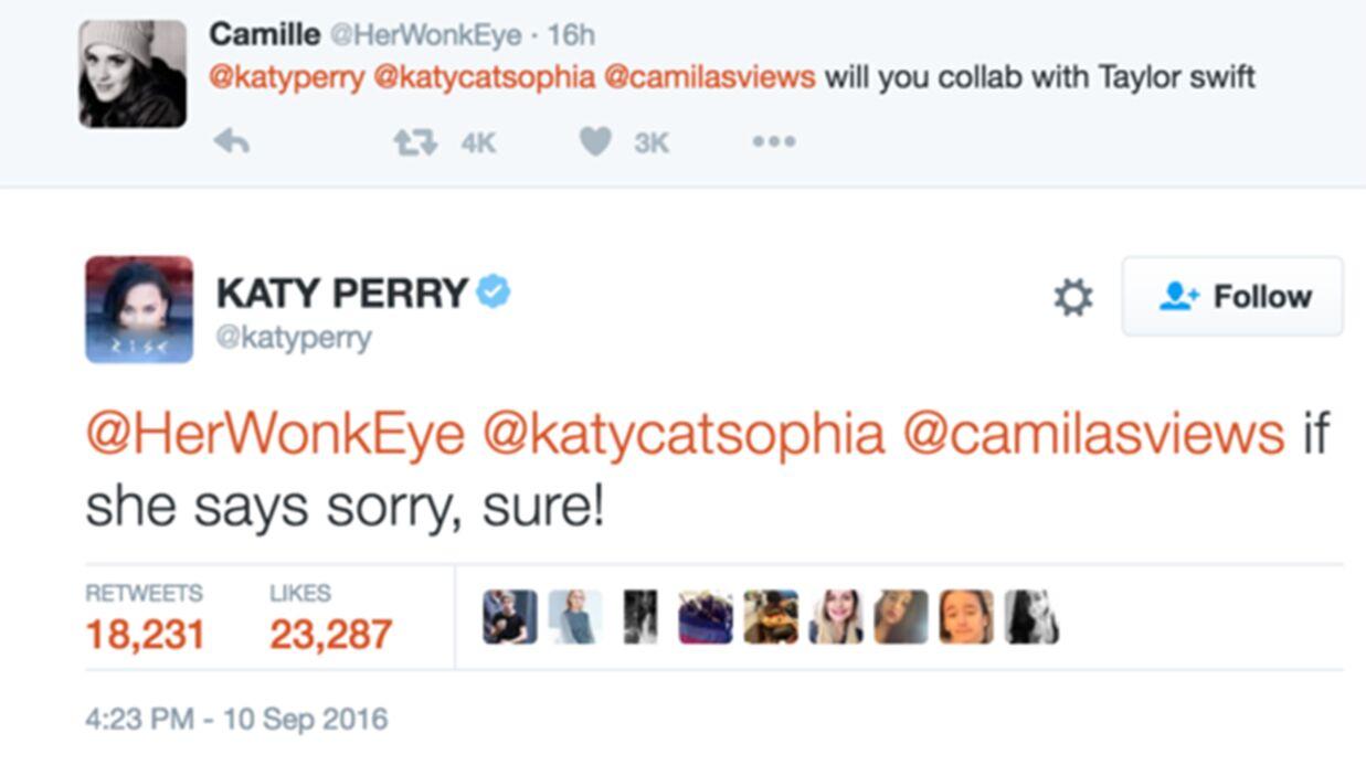 Katy Perry est prête à faire la paix avec Taylor Swift à condition que…
