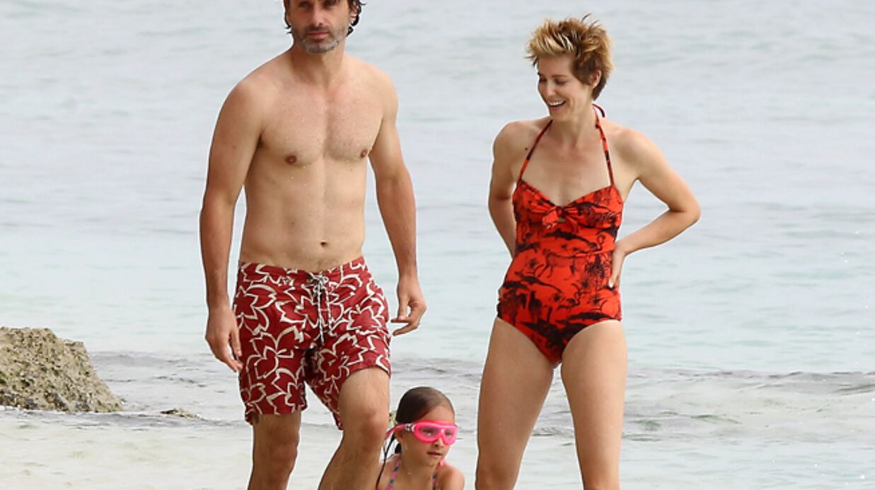 DIAPO Andrew Lincoln (The Walking Dead) en famille à la plage