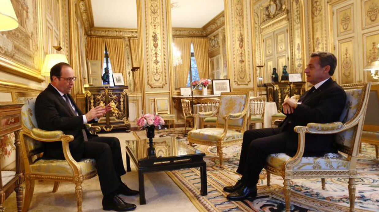 le jour o fran ois hollande a humi li nico las sarkozy en visite l ely s e voici. Black Bedroom Furniture Sets. Home Design Ideas