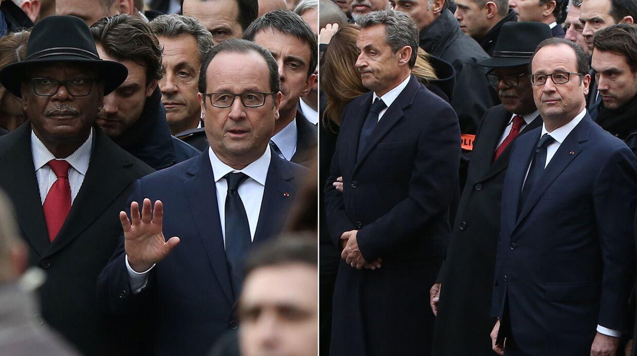 Nicolas Sarkozy au 1er rang de la marche républicaine: il dément avoir forcé le passage
