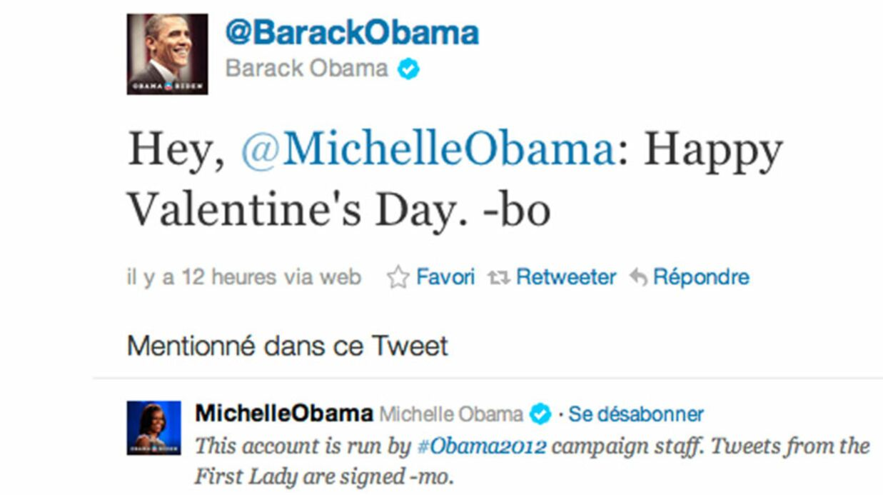 Barack Obama : son tweet à Michelle Obama pour la Saint-Valen­tin