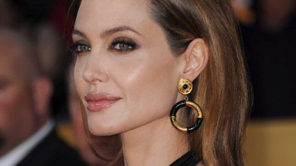 A vendre, une photo d'Angelina Jolie seins nus face à un cheval