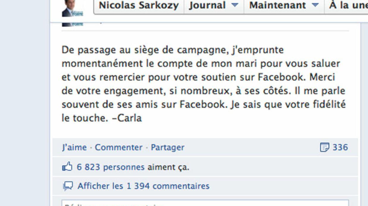 Carla Bruni-Sarkozy emprunte le Facebook de Nicolas Sarkozy