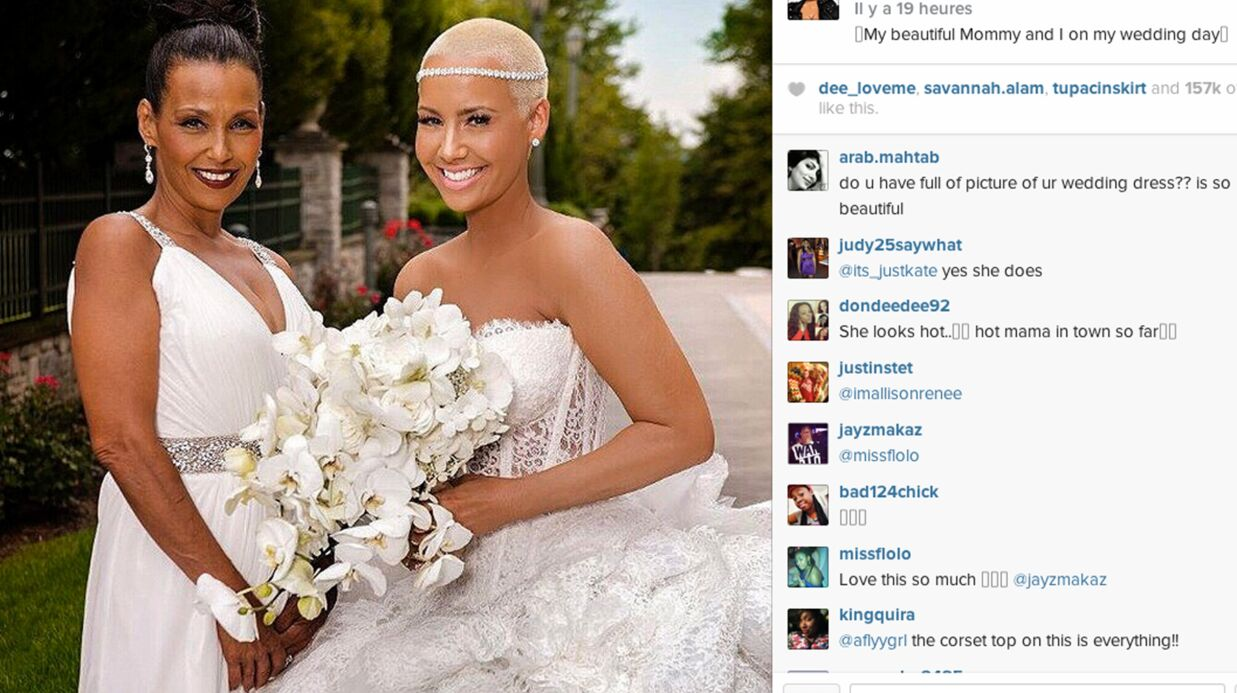 amber rose partage des photos de son mariage avec wiz khalifa voici. Black Bedroom Furniture Sets. Home Design Ideas