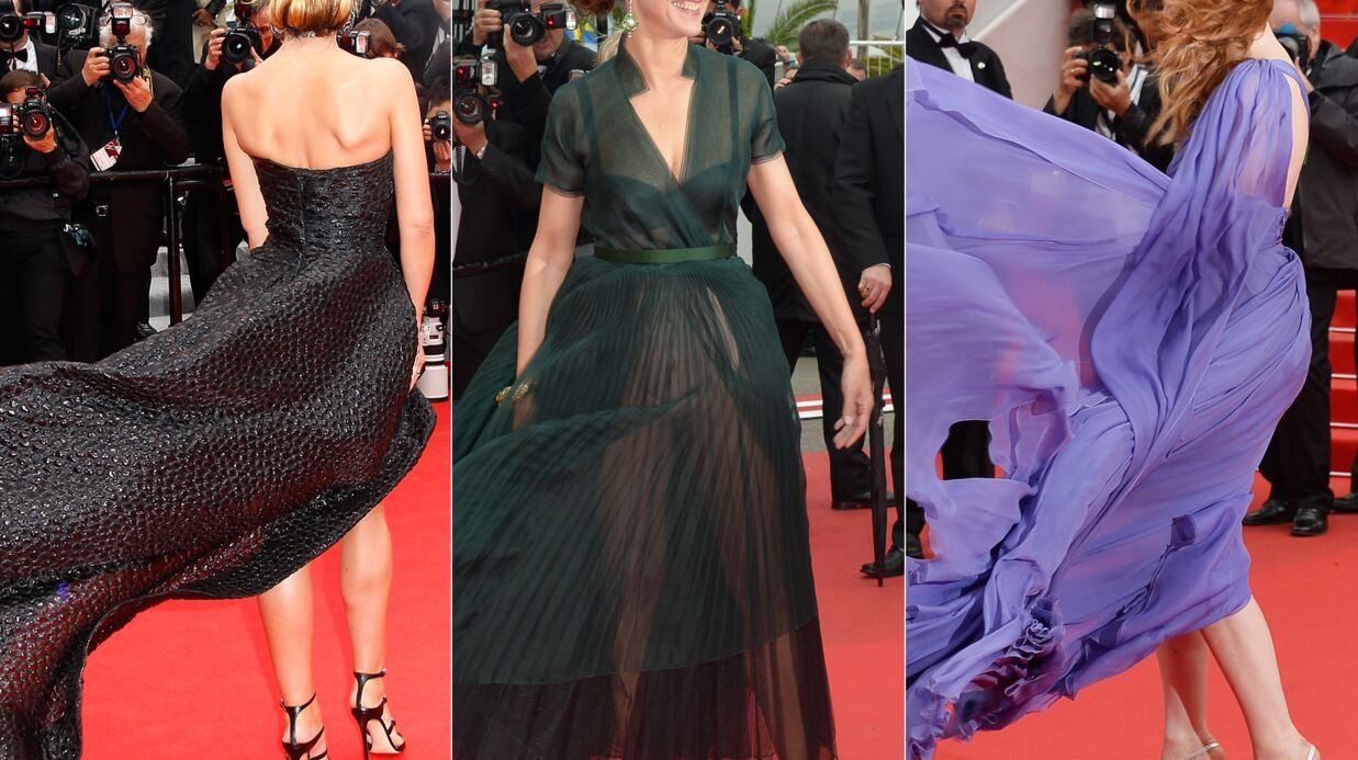 PHOTOS Cannes : les actrices malme­nées par le vent sur le red carpet