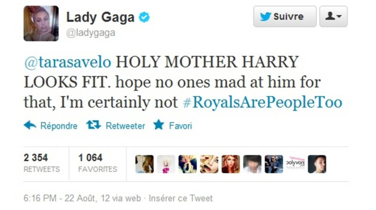 Lady Gaga soutient le prince Harry face au scan­dale