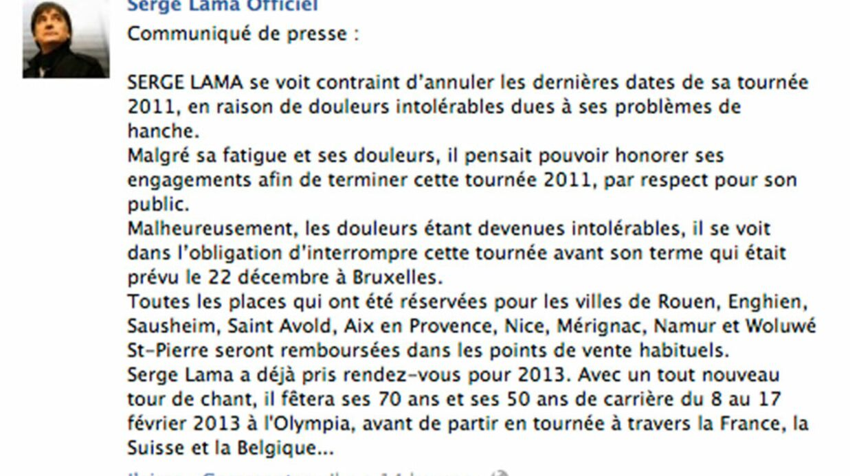 Serge Lama annule sa tournée pour problèmes de santé