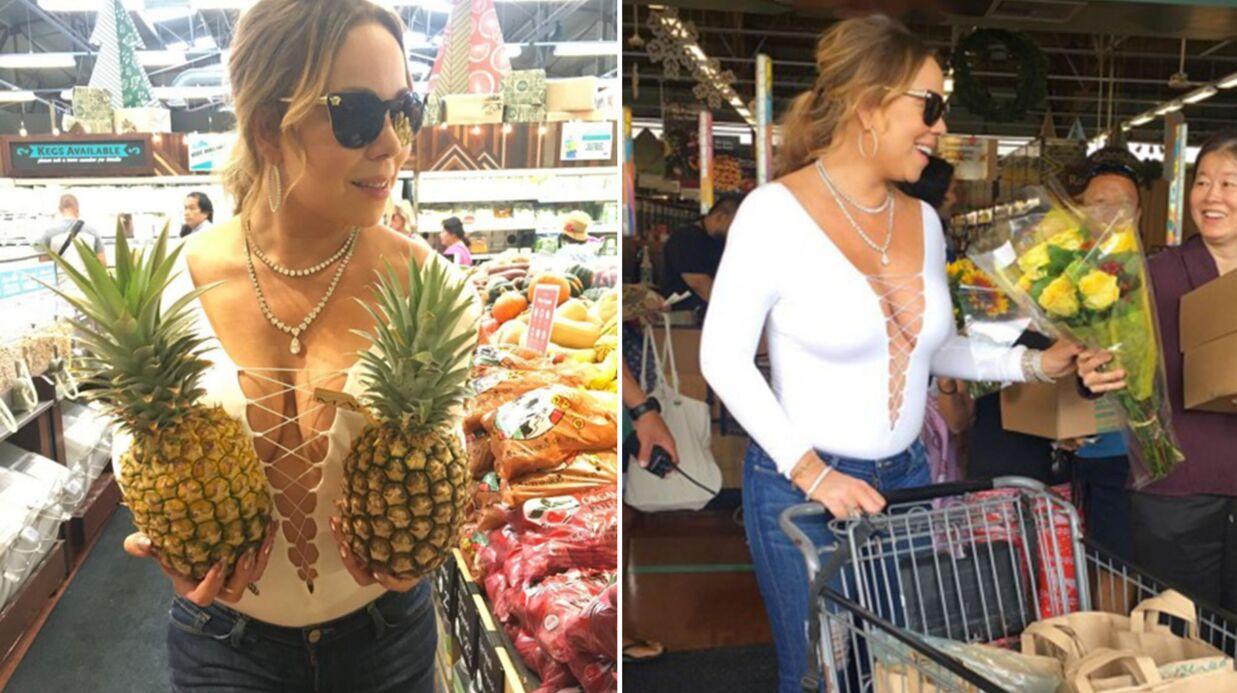DIAPO Mariah Carey: tous seins dehors, elle va au marché et c'est n'importe quoi