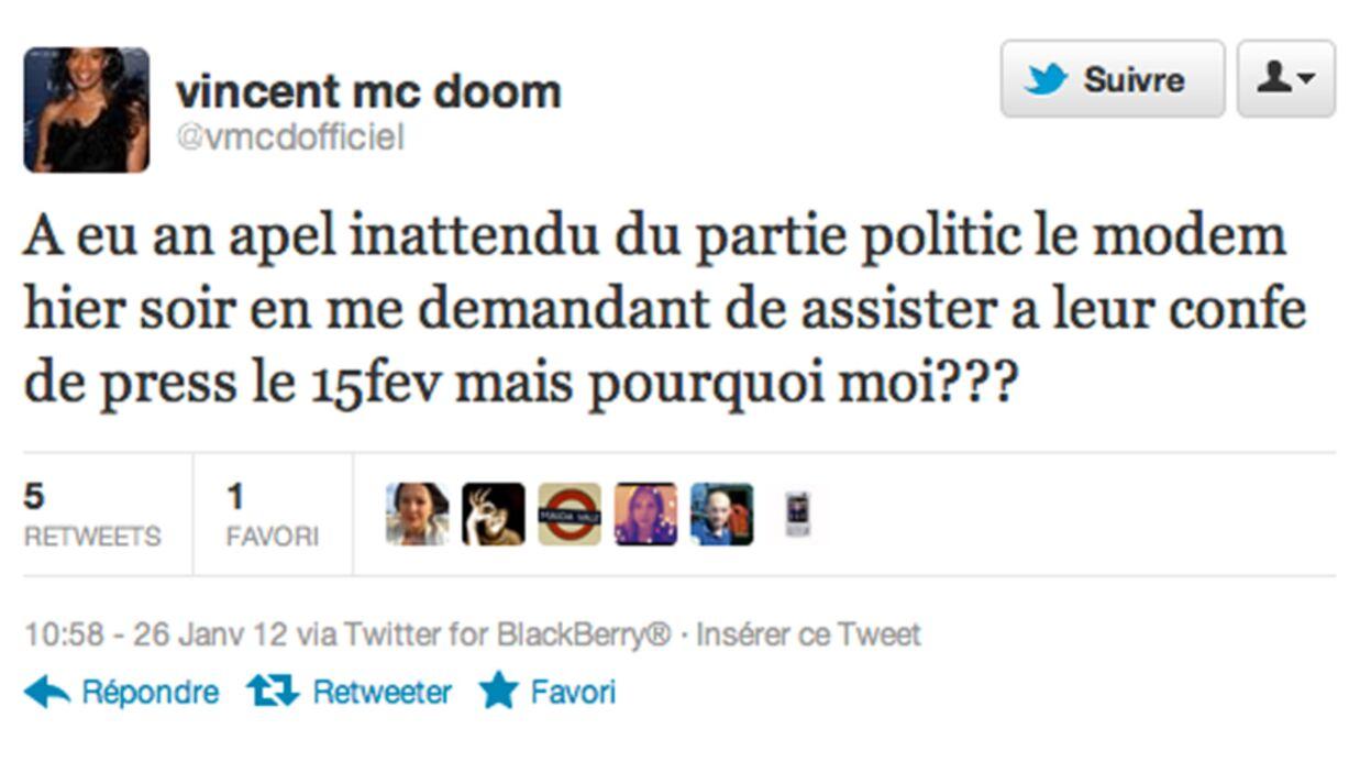 Vincent Mc Doom approché pour soutenir François Bayrou