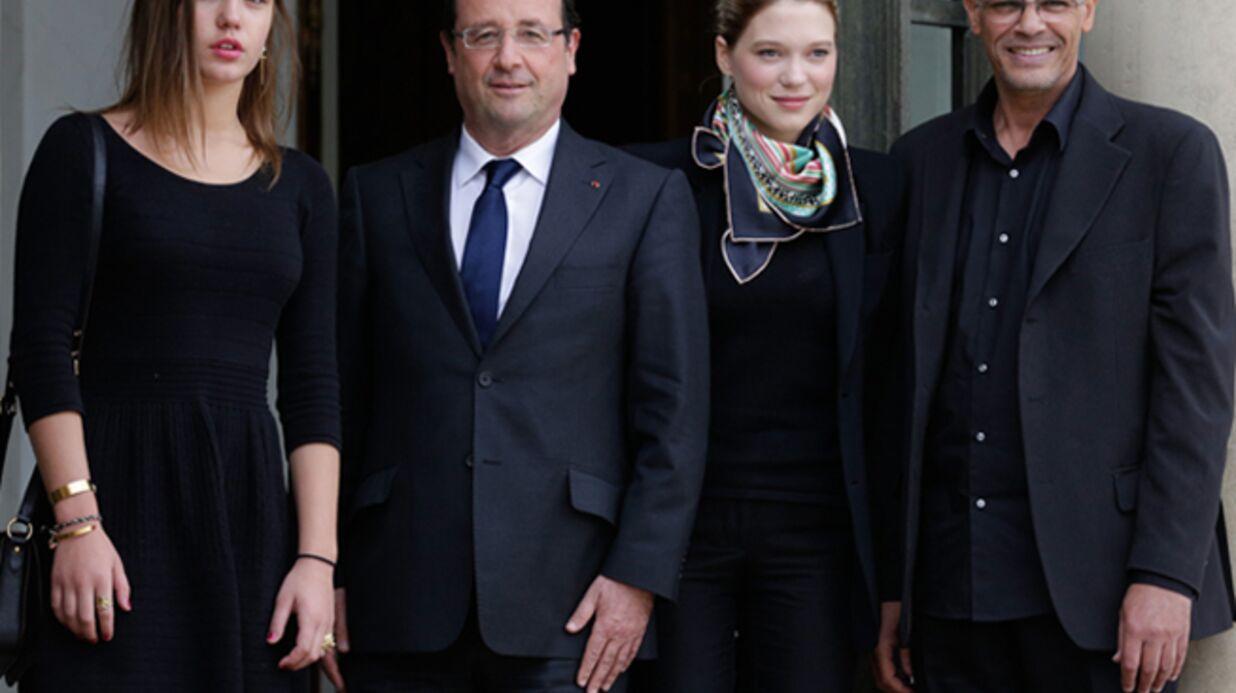 DIAPO Adèle Exarchopoulos et Léa Seydoux complices pour rencontrer François Hollande