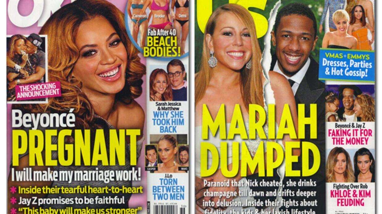 En direct des US: Beyoncé enceinte, Mariah alcoolique, Aniston dévastée