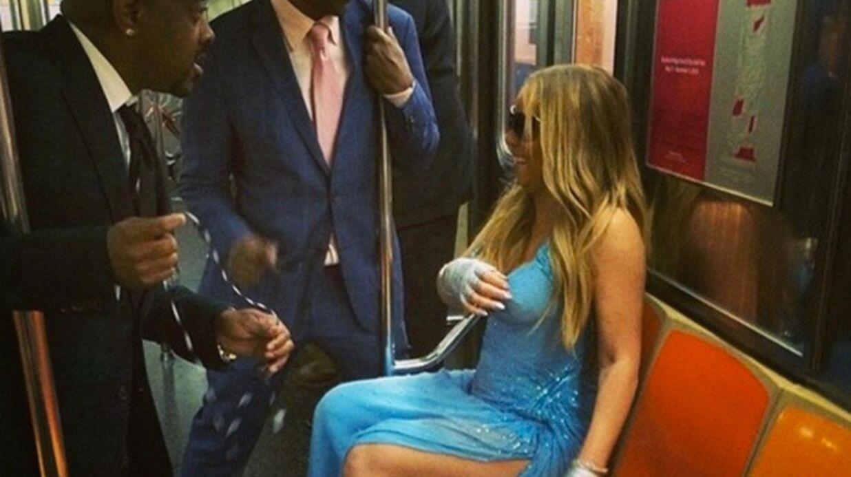 Mariah Carey prend le métro (mais si) dans sa plus belle robe de soirée
