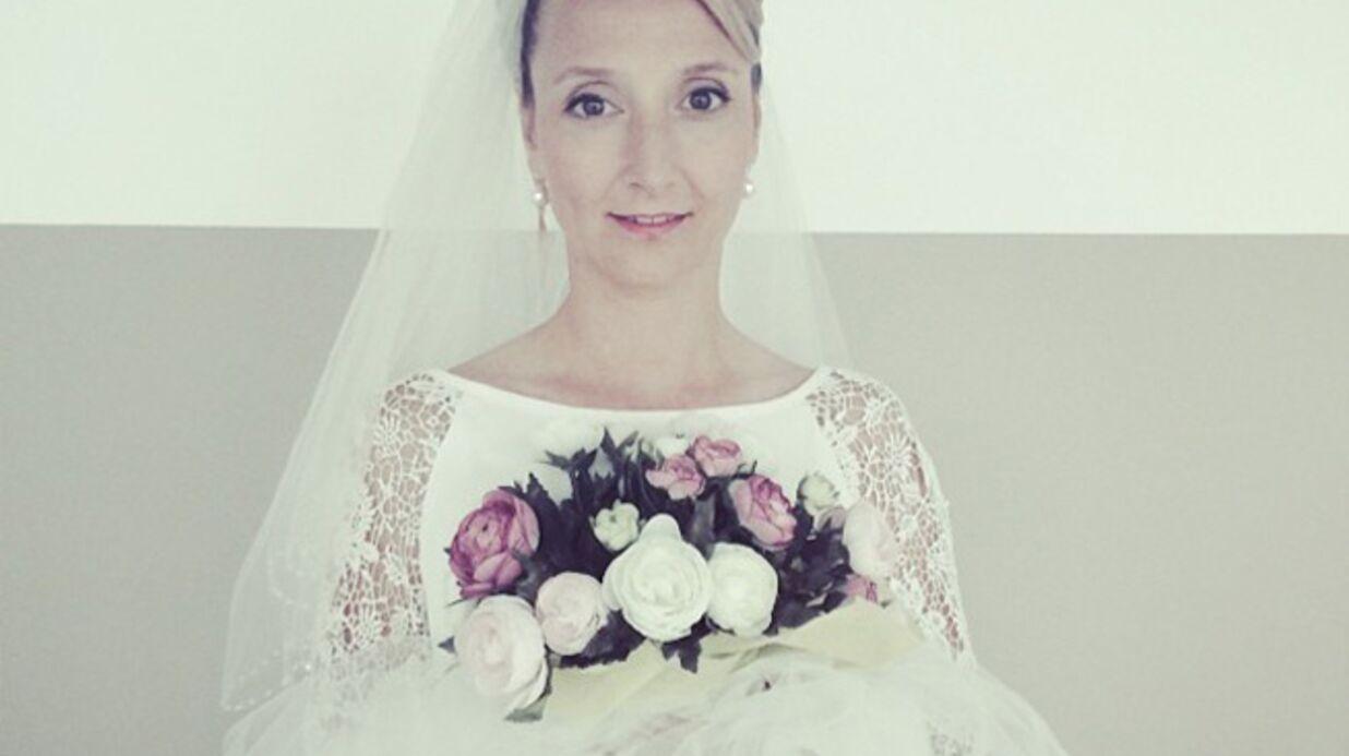 PHOTO Audrey Lamy en robe de mariée