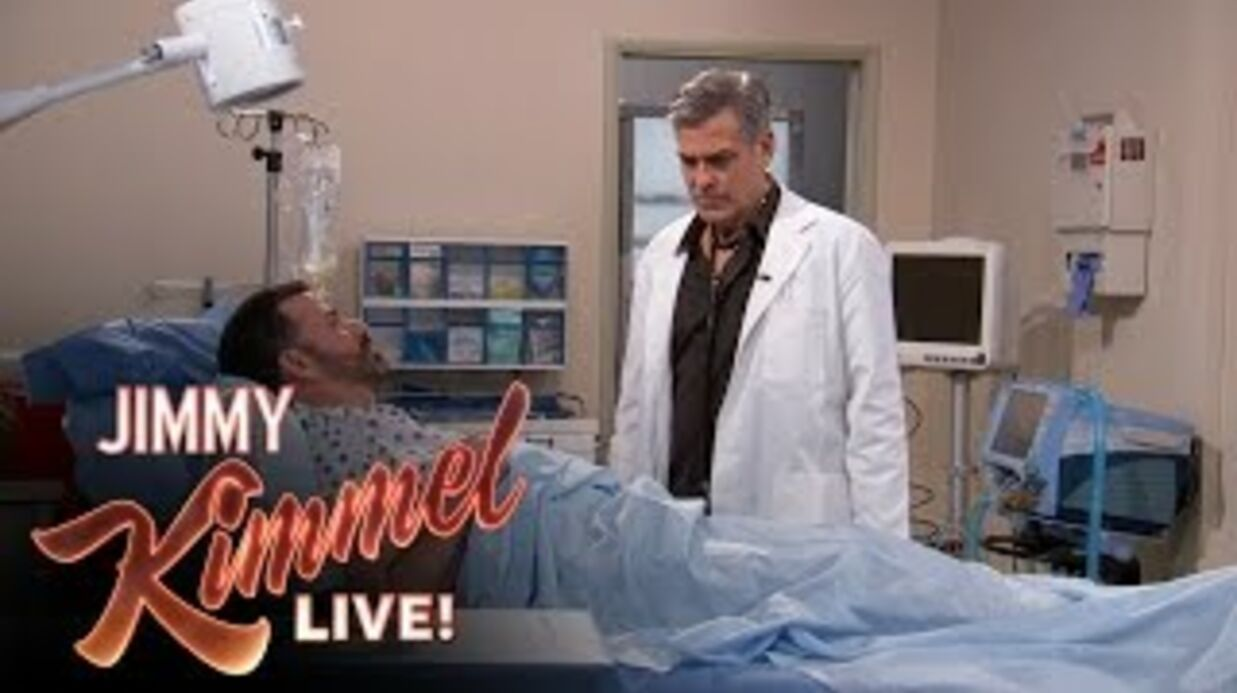 VIDEO George Cloo­ney et Hugh Laurie : Dr House et Dr Ross au chevet de Jimmy Kimmel